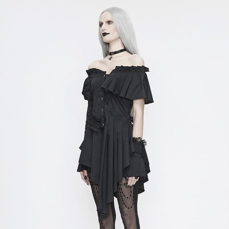 Gothic Retro Folds Asymmetrical Irregular Hem Lace Petal Sleeve Blouse Female One-shoulder Sexy Elegant Ladies Shirt enlarge