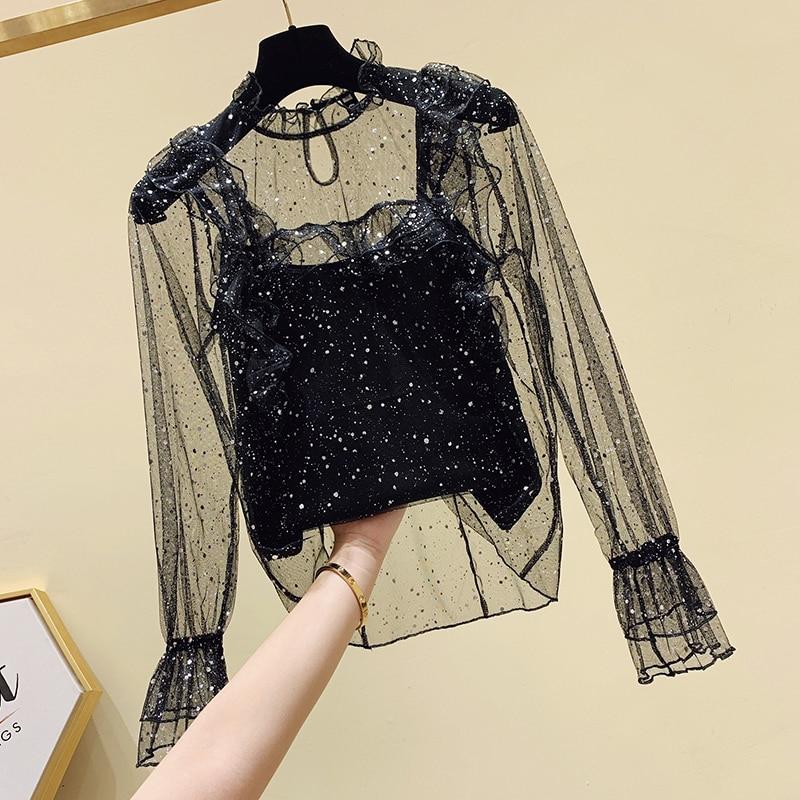 Black Mesh Blouse Woman Ruffles Blouse Female Lady Sexy Shirt Sequins Shirts Womens Tops and Blouses Nancylim