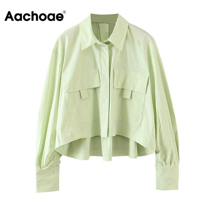 Aachoae moda manga longa oco blusa camisa feminina turn down collar blusas casuais senhoras bolsos solto streetwear topo