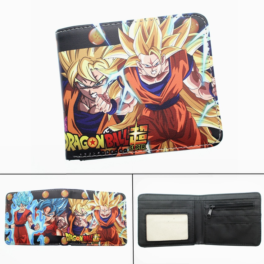Anime Dragon Ball Z Wallet Super Saiyan Goku Vegetto PU Short Photo Card Holder Boys Girls zip Coin leather Cartoon Purse Gift