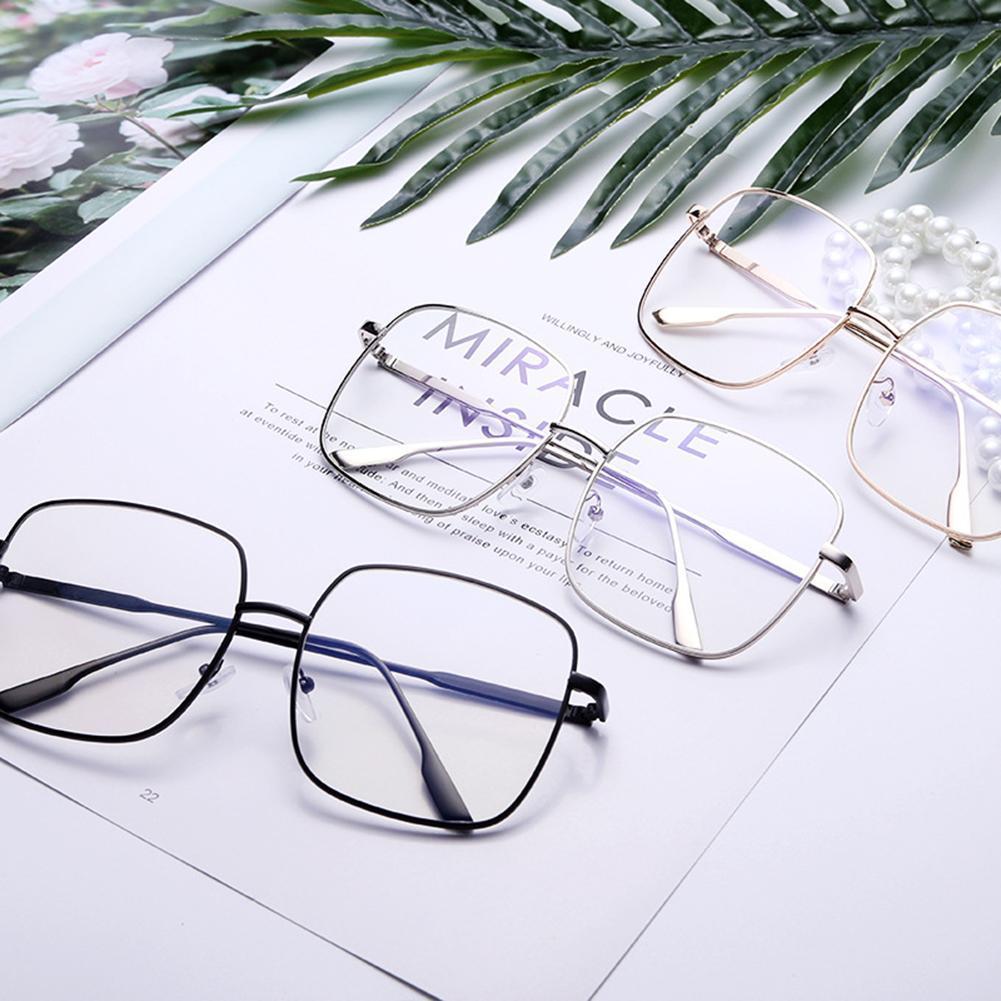 Fashion Unisex Square Metal Myopia Frame Glasses Anti-blue Eyewear Spectacles titanium alloy half rim prescription glasses business men square semi rimless myopia optical frame eyewear man spectacles s1119