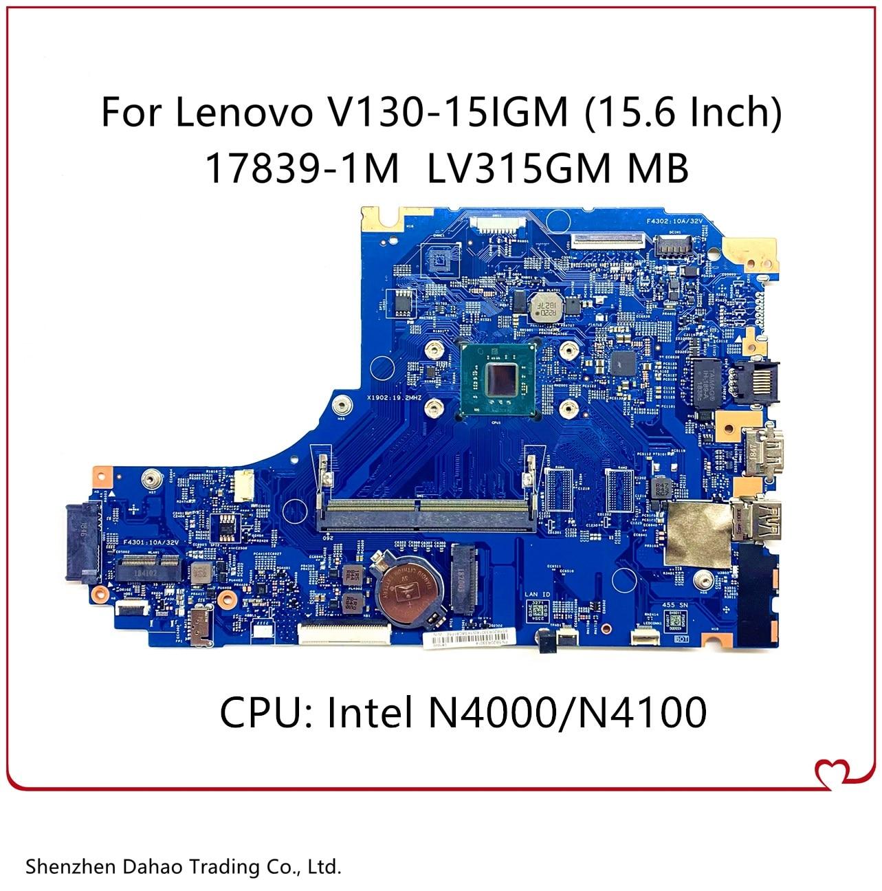 17839-1M LV315GM MB لينوفو V130-15IGM اللوحة المحمول W/إنتل N4000/4100 وحدة المعالجة المركزية 100% اختبار بالكامل 448.0DC05.003M 5B20R33014