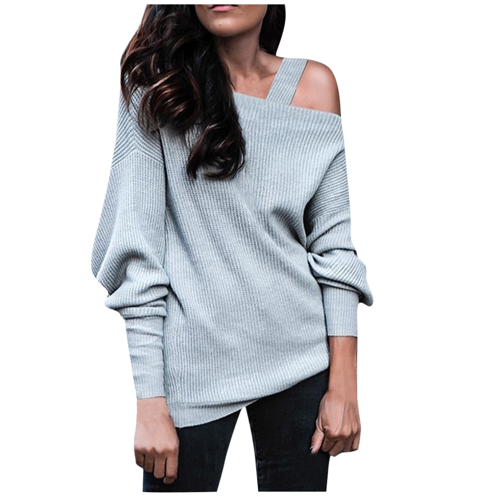 Sexy Off Shoulder Straps Women Sweatshirt Elegant Solid Spring Autumn Knitted Top Loose Casual Long Sleeve Slash Neck Pullovers new ins sexy off shoulder copper buckle knitted off shoulder top