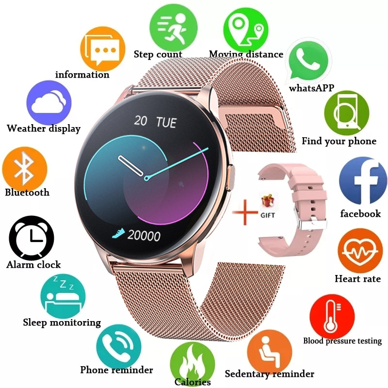 2021 Full Touch Smart Watch Women IP68 Waterproof Bracelet ECG Heart Rate Monitor Sleep Monitoring S