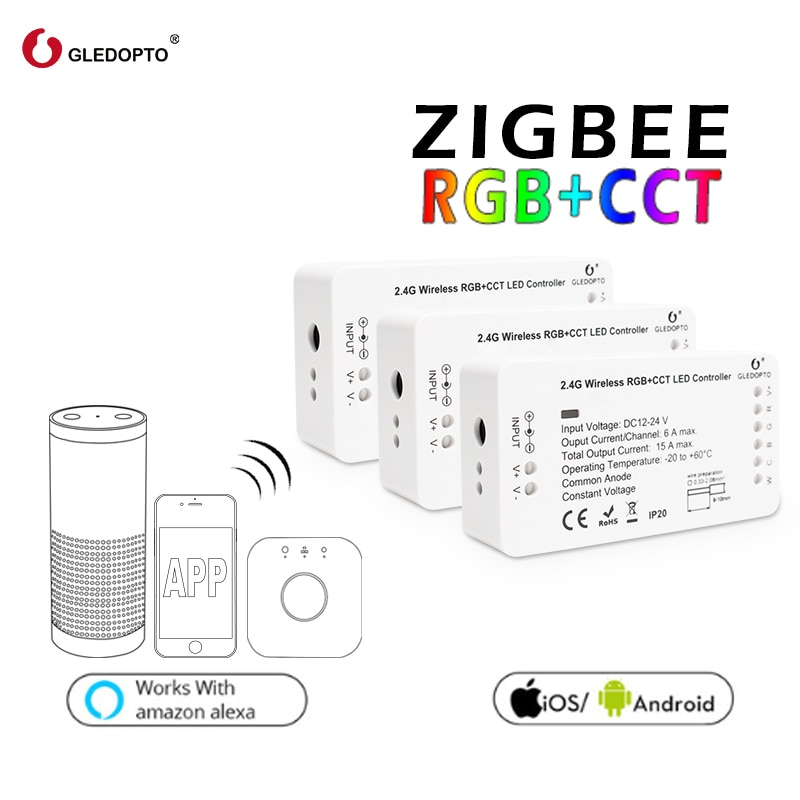 zigbee hub led controller led rgbw rgbcct wwcw dimmer timer zigbee controller comptible with amazon echo plus app control DC12-24V RGB+CCT/rgbw Zigbee Smart LED Strip Controller Voice Control Work With Echo Plus SmartThings ZIGBEE 3.0 HUB Smart Home