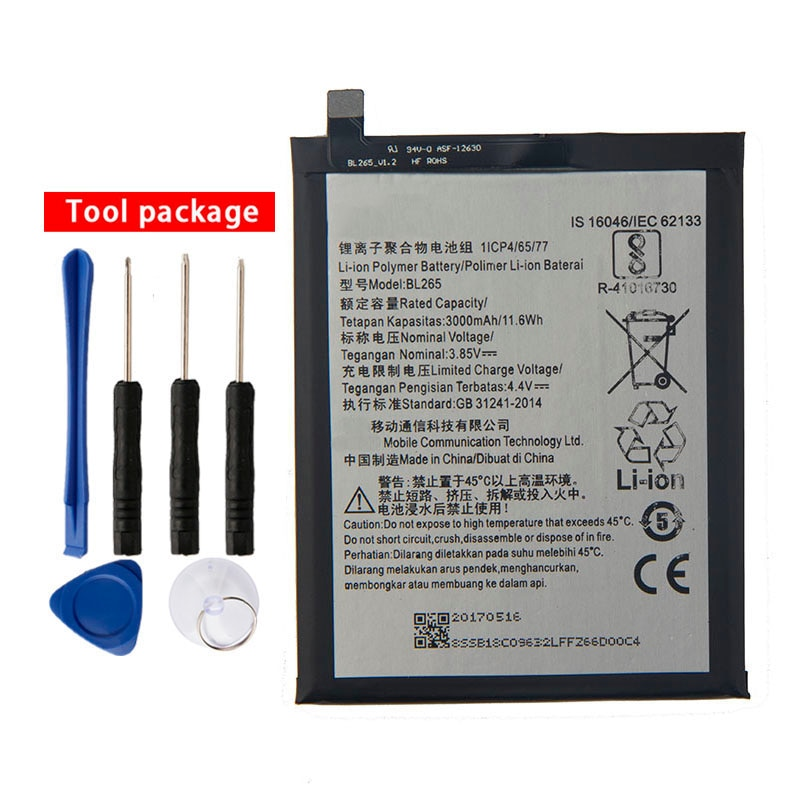 Original High Quality BL265 Battery For Lenovo M Kung-Fu XT1662 MOTO M XT1663 3000mAh