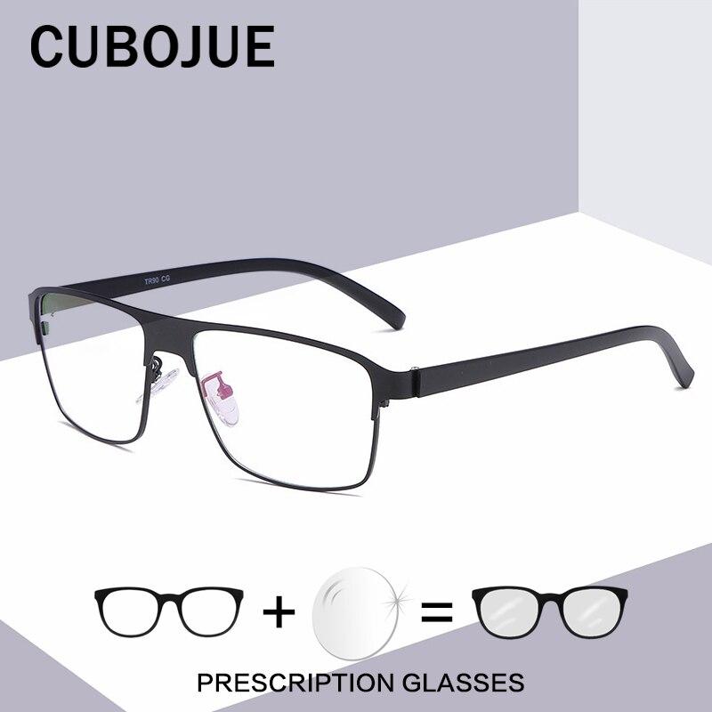 Cubojue 144 مللي متر وصفة طبية الرجال كامل حافة نظارات رجل نظارات للاستلام المتضخم التدريجي فوتوكروميك مكافحة الأزرق UV400