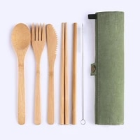 portable bamboo cutlery set travel eco friendly reusable fork spoon chopsticks straw cleaning brush