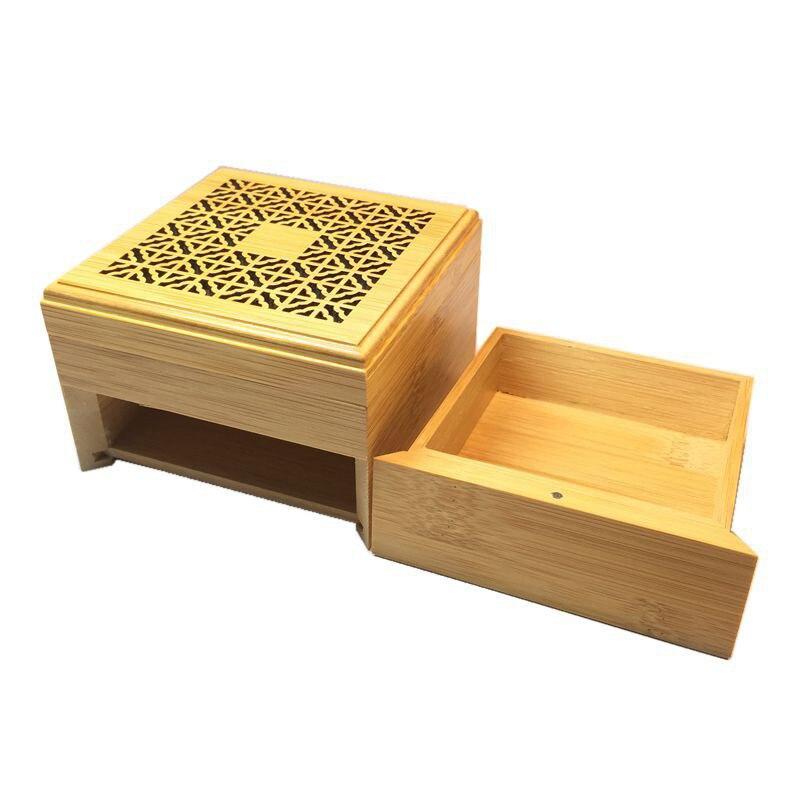 Soporte de palo de madera incienso hueco tallado de doble capa Joss caja de incienso Ash Catcher MYDING