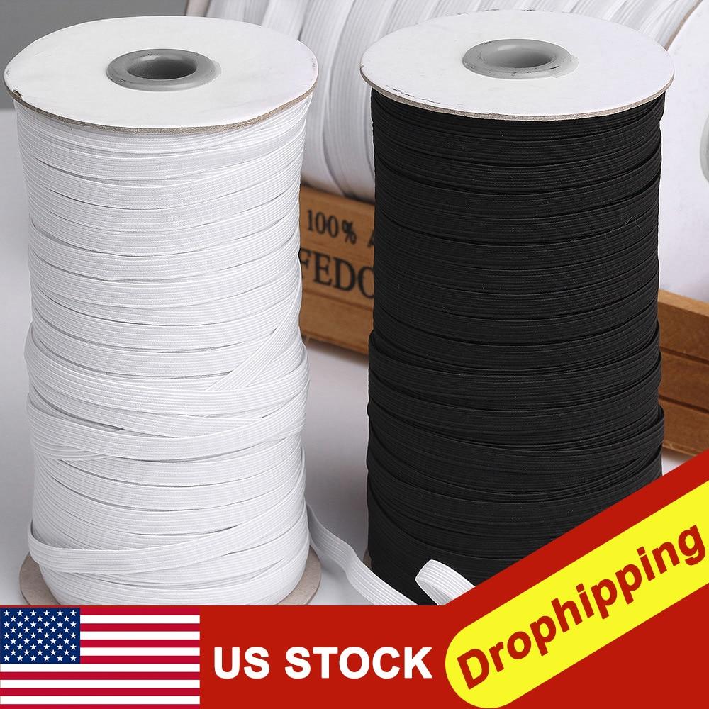 70/100/120/200 Yards longueur bricolage tressé bande élastique cordon tricot bande couture 3/5/6/7/8/9mm pour la couture artisanat masque fabrication