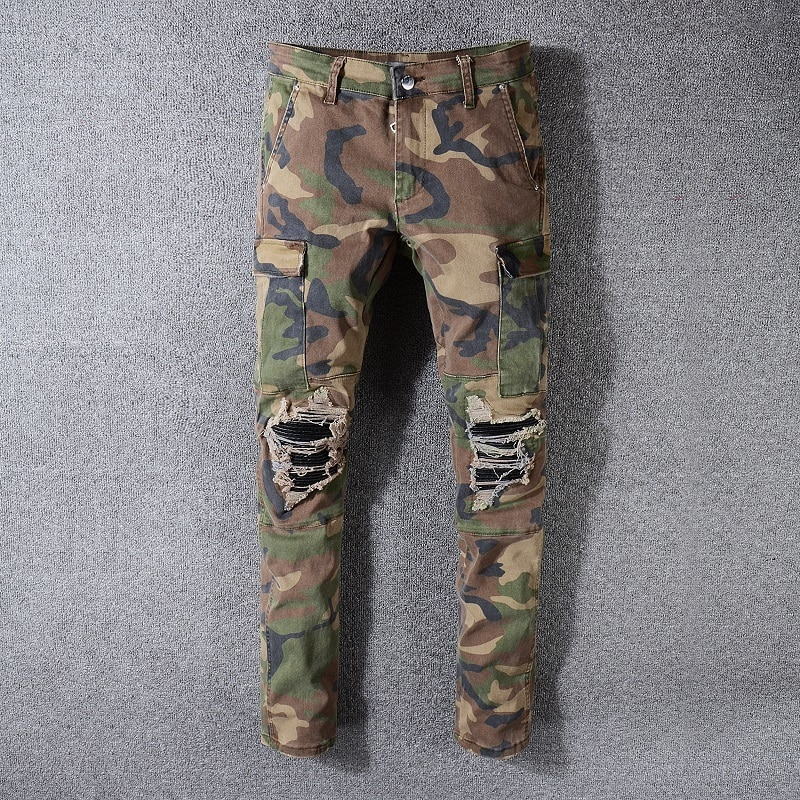 PYJTRL  Mens Fashion Slim Fit Camouflage Denim Pants