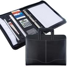 Mode A4 Document dossier en cuir PU avec calculatrice reliure poignée fermeture éclair stationnaire affaires Padfolio gestionnaire dossier logo