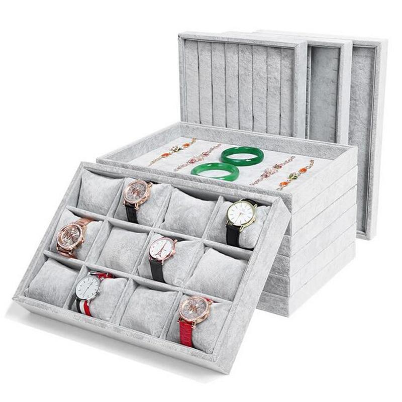 Вельветовый органайзер для ювелирных изделий, коробки для украшений и упаковка, оптовая продажа, подставка для колец, браслетов, серег, ожер...