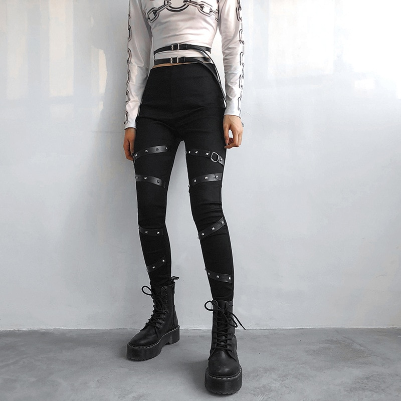 Black Gothic Pencil Pants Rivet High Waist Woman Slim Body Dark Goth Pant 2021 Women Punk Aesthetic Clothes Vintage Streetwears