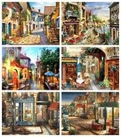 Huacan 5D bricolage diamant broderie pleine maison carree diamant peinture mosaique paysage rue decoration de la maison