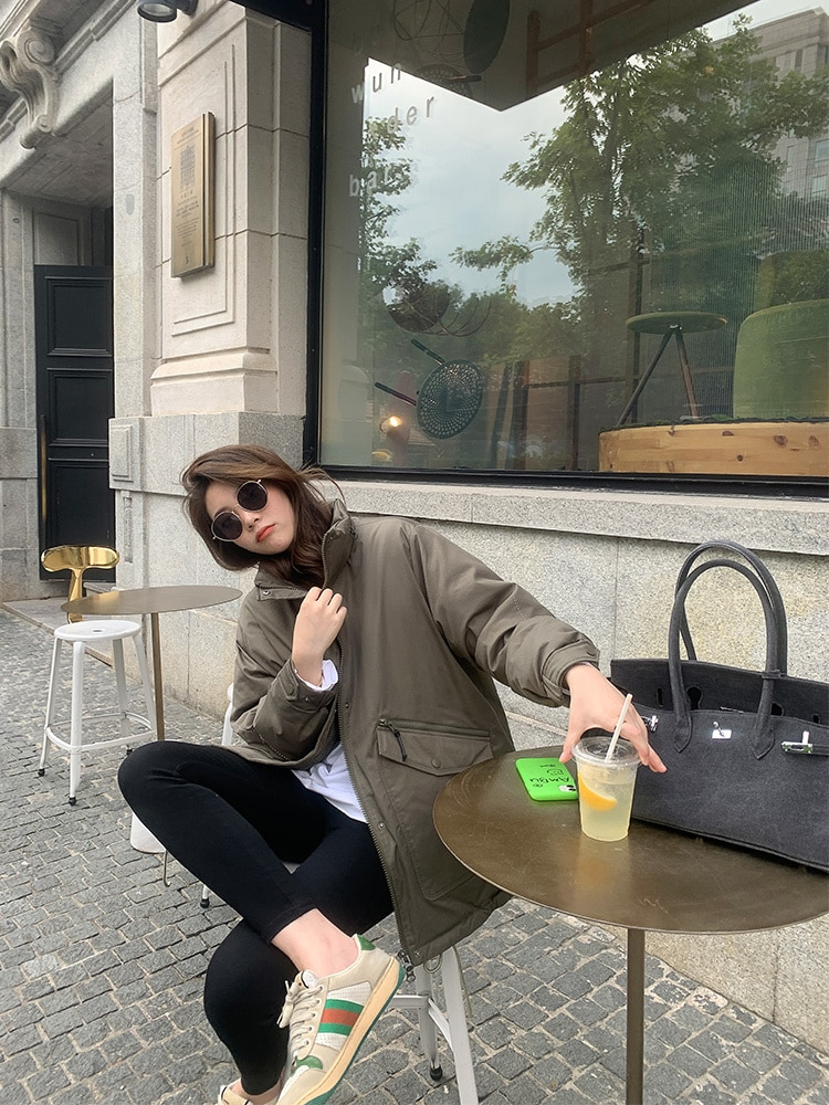 Korean Women Female Chuliang's Current Boyfriend Winter Style Pie Overcomes The Thickened Loose Blac