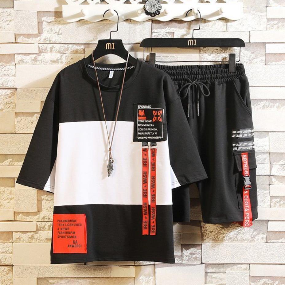 أنماط الموضة الرجال مجموعات الهيب هوب الملابس الشارع الشهير ملابس صيفية الذكور تي شيرت وبانت قطعتين الهيب هوب مجموعة حجم 3XL