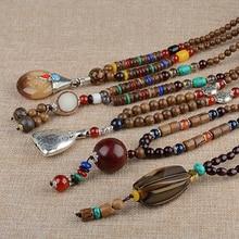 1PC Buddhist Wood Beads Handmade Long Tassel Necklace Ethnic Horn Fish Long Statement Jewelry
