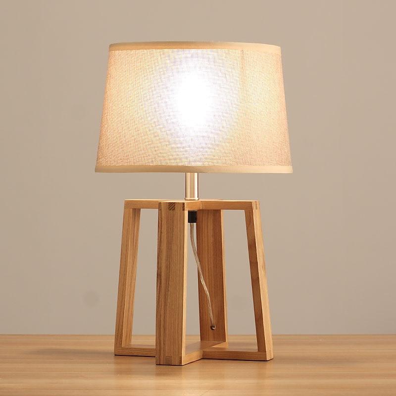 Lámpara de noche para dormitorio estilo japonés lámpara de escritorio de madera retro de moderno Lino de mesa chino
