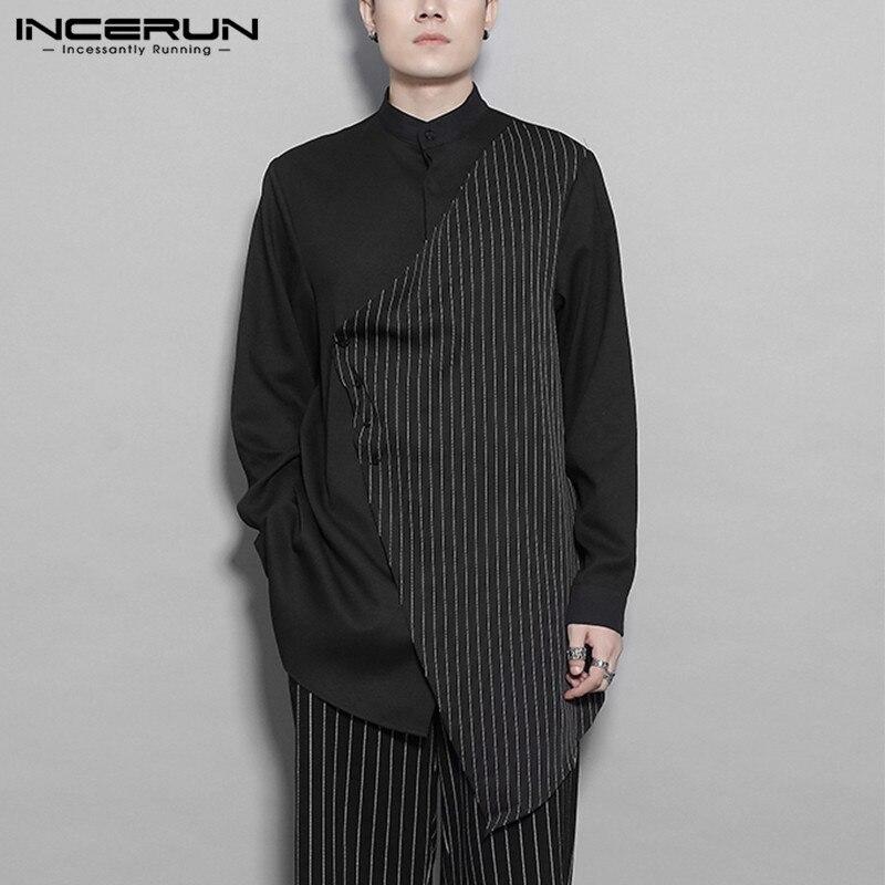 INCERUN de moda camisa manga larga para hombre a rayas 2020 cuello Camisas Streetwear botón Chic Irregular informal Camisas