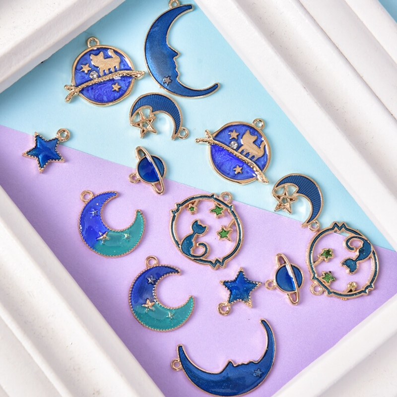 aliexpress.com - 8Pcs Enamel Charms Blue Moon Star Planet Pendant Charms Spacer Beads for Jewlery Making DIY Bracelet Earrings Necklace