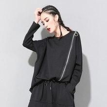 LANMREM 2020 ربيع جديد ملابس النساء سستة غير رسمية فضفاضة غير النظامية س الرقبة طويلة الأكمام تي شيرت الإناث Vestido أسود أبيض ZA446