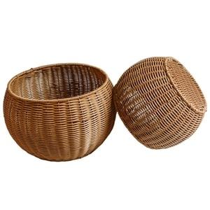 New Imitated Rattan Round Basket Home Desktop Fruit Basket Sundries Storage Basket, 2PCS