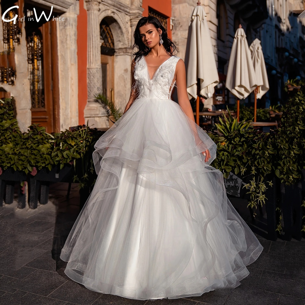 Luxury Feather Ball Gown Wedding Dress Tiered Tulle Tank Sleeve Bridal Robe Dress For Weddding Bride To Be Vestidos frilled sleeve brush stroke grid tiered dress