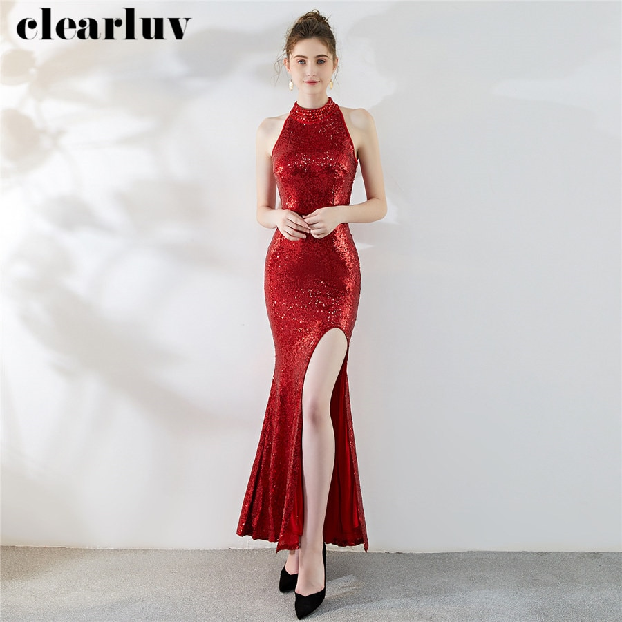 Halter Evening Dress 2020 Long Plus Size Elegant Women Party Dresses DX285 New Split Robe De Soiree Sequins Mermaid Formal Dress