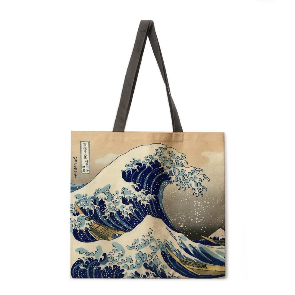 AliExpress - Japanese style ukiyoe print tote bag linen fabric bag casual folding shopping bag outdoor beach bag everyday handbag