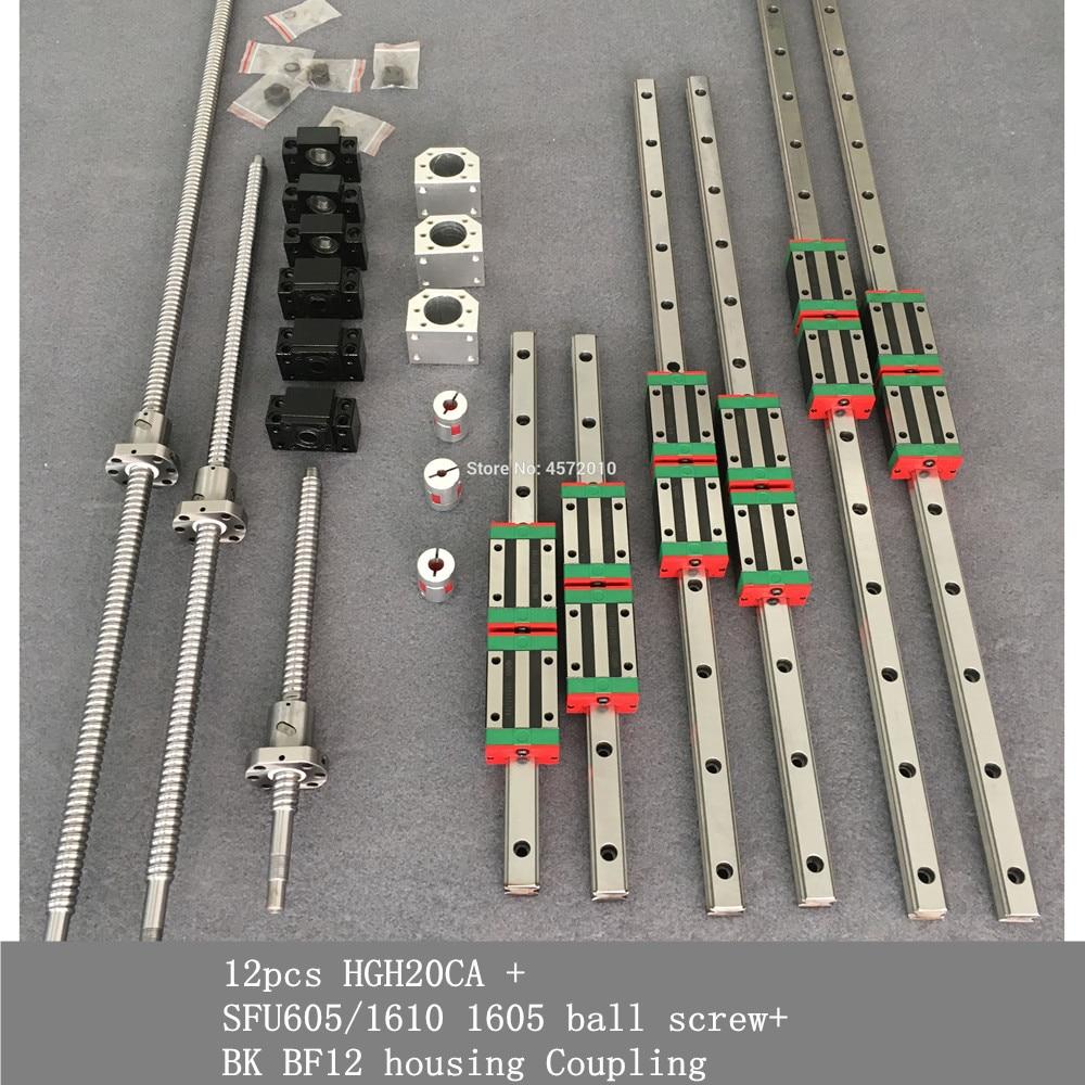مجموعة دليل خطي مربع HGR20 ، 12 قطعة ، HGH20CA SFU605/1610 1605 براغي كروية BK BF12 ، اقتران مبيت لمجموعة محرك المغزل
