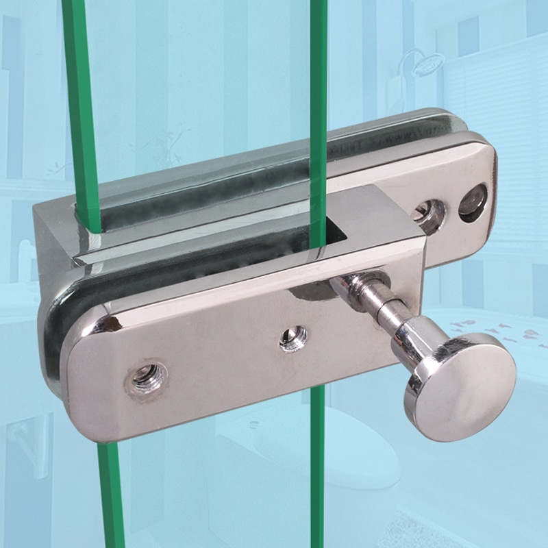 Frameless shower room sliding door Lock/bolt/Doorstop,for glass thick 10mm,or Screen partition door,Glass hardware