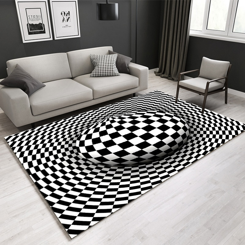 Nordic Alfombra 3D Rug Living Room Carpet Home Bedroom Floor Mat Anti-Skid Area Rug Abstract Geometric Optical Illusion Carpets