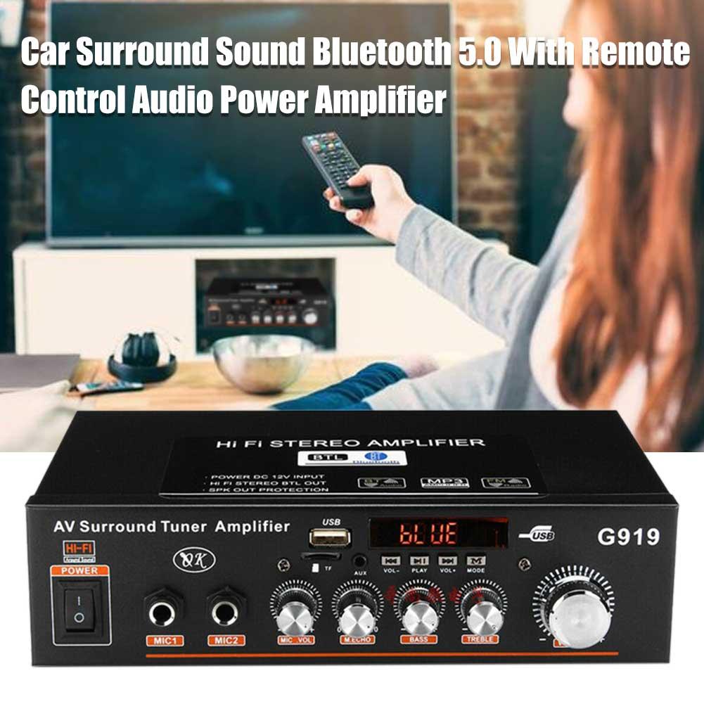 Amplificador de potência áudio bluetooth 5.0 suporte tf cartão carro surround digital receptor estéreo som com controle remoto portátil