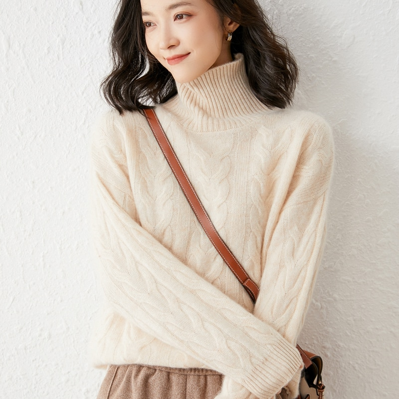 2021 woman winter 100% Cashmere sweaters knitted Pullovers jumper Warm Female Turtleneck blouse  long sleeve clothing enlarge