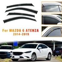 abs 4pc car styling smoke window sun rain exterior visor deflectors guard for mazda 6 atenza 2014 2015 2016 2017 2018 accessorie