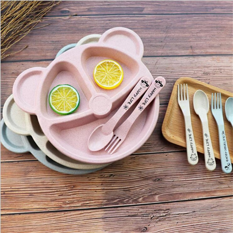 3pcs/set Cartoon Wheat Straw Tableware Bear Car Shape Kids Dishes Portable Anti-hot Training Dinner Plate Infant Bowl For School enlarge