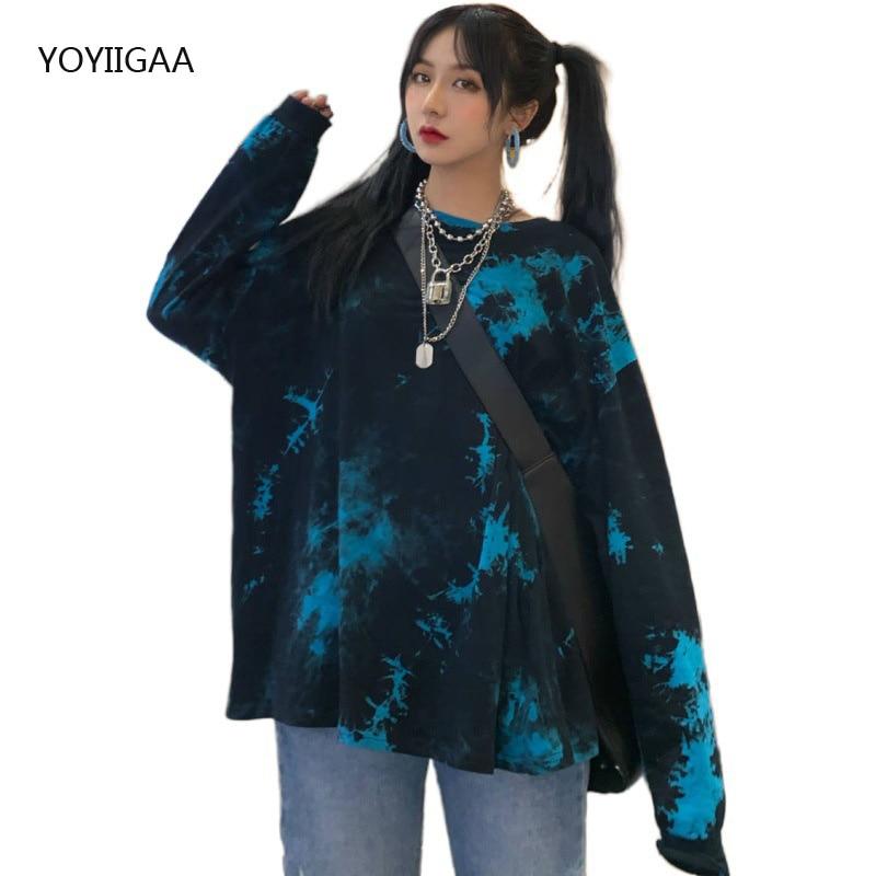 Oversized Long Sleeve Tie Dye T-Shirt Women Tee Shirt Spring Autumn Basic T Casual O-neck Female Tshirt Tops