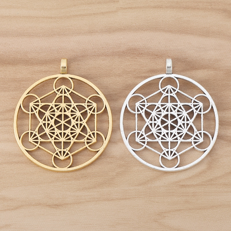 6 piezas de oro tono Arcángel Metatrón cubo símbolo redondo encantos colgante para collar joyería resultados 40mm