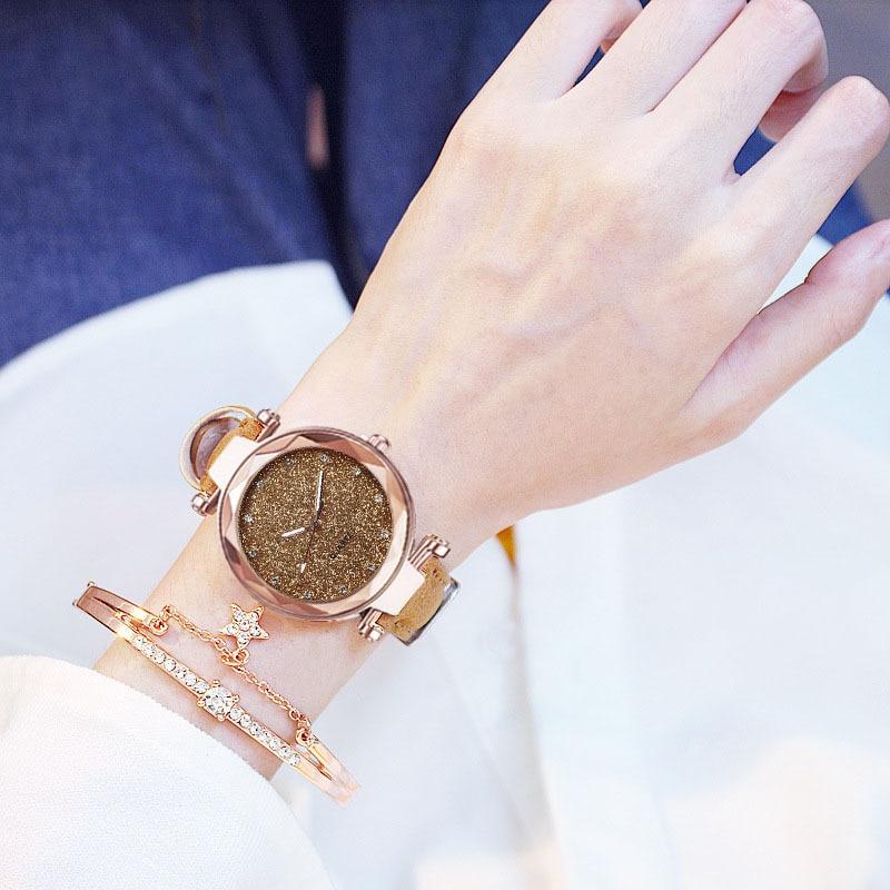Women Watch Rhinestone Romantic Starry Sky WristWatch Fashion Ladies Leather Watch Clock for Women watch women enlarge