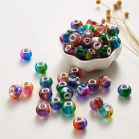 10pcs wholesale lot round glass spacer beads bulk fit pandora bracelet necklace for diy snake chain cord necklace jewelry making