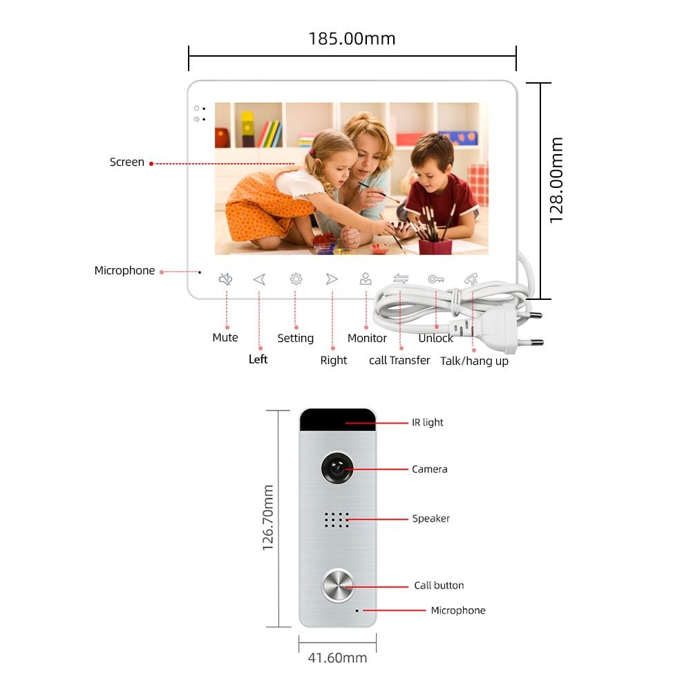 Joytimer Home Video Intercom Video Door Phone for Apartment 7