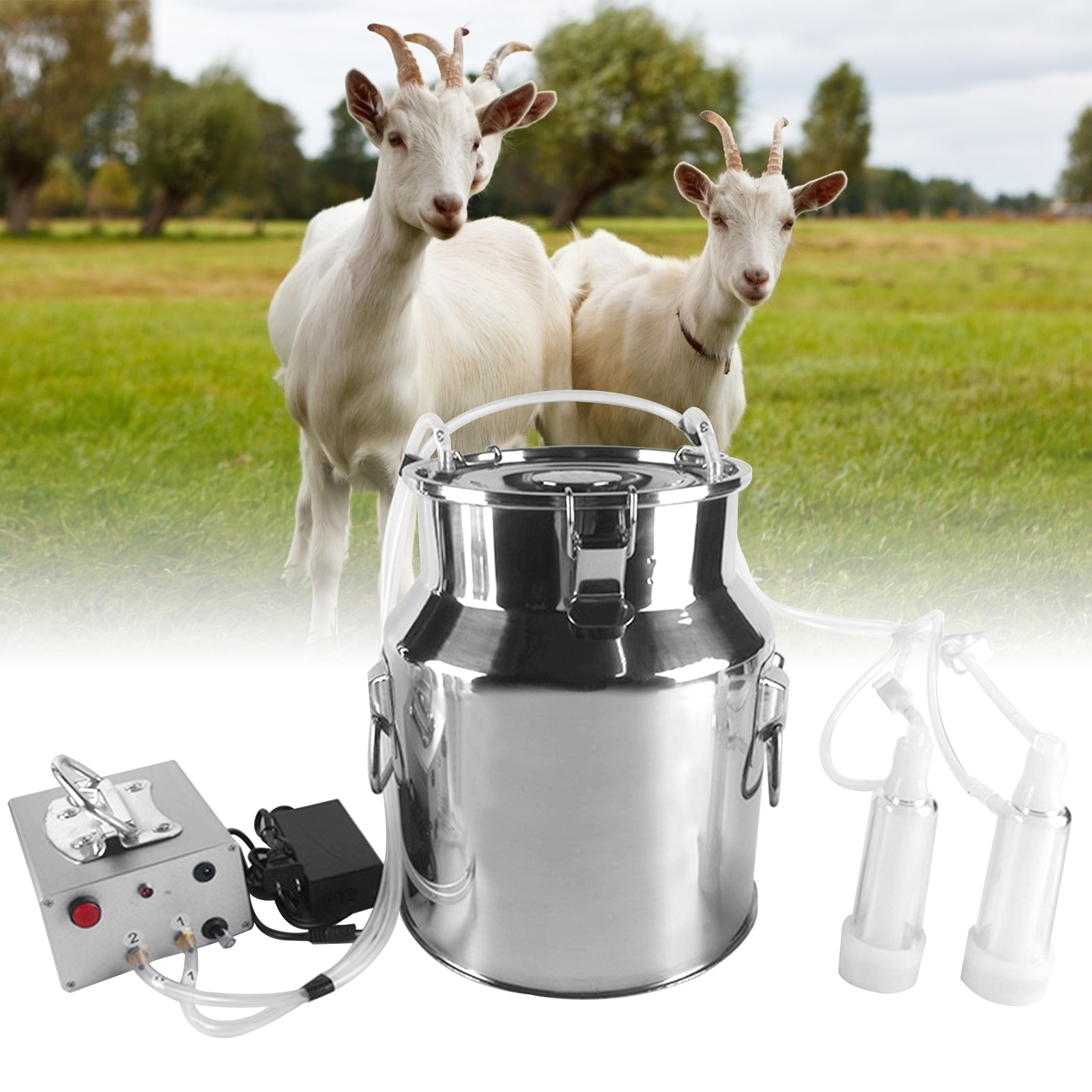 14L Electric Milking Machine for Farm Cows Cattle Goat 220V Stainless Steel Bucket Pulsating Milking Machine Vacuum Pump Bucket