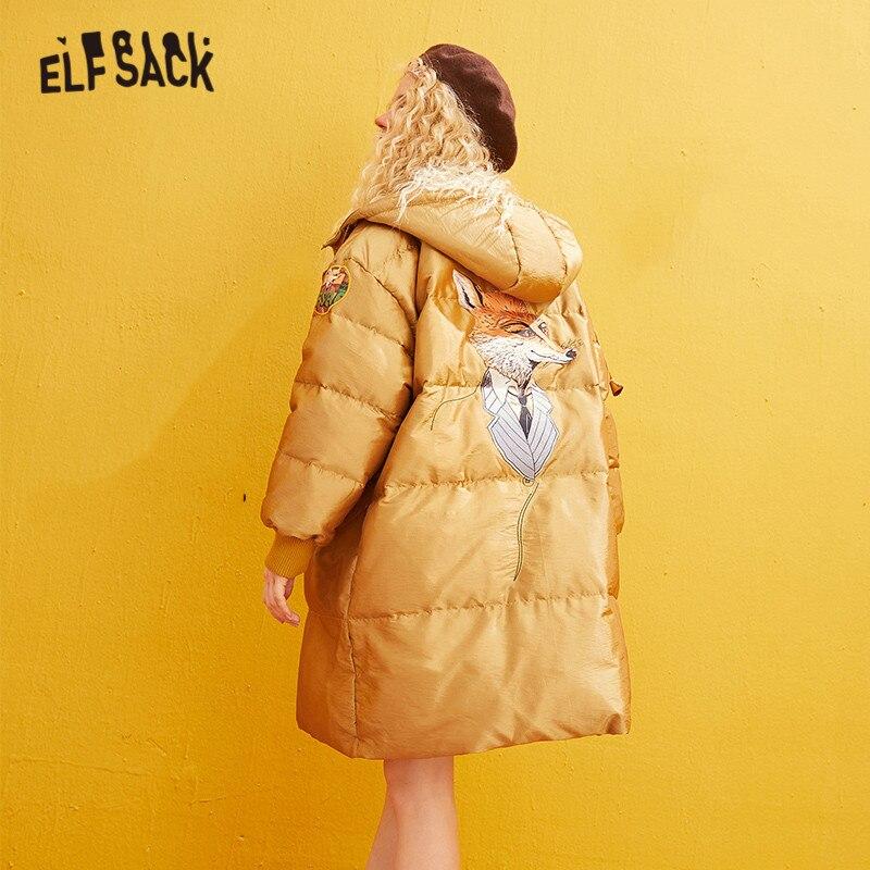 ELFSACK, abrigos cálidos rectos con apliques de zorro de satén amarillo liso para mujer, Invierno 2019, cremallera bordada, ropa de abrigo básica femenina coreana