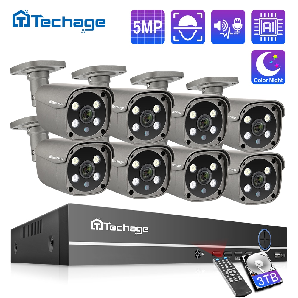 aliexpress - Techage Security Camera System 8CH 5MP HD POE NVR Kit CCTV Two Way Audio AI Face Detect Outdoor Video Surveillance IP Camera Set