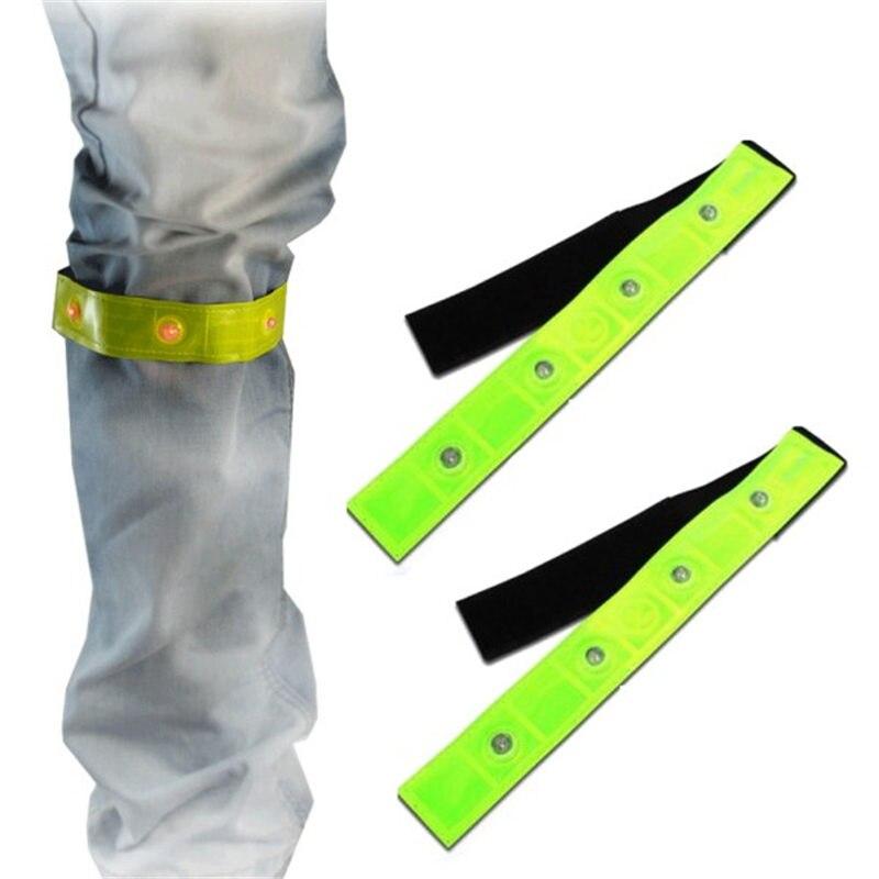 Brazalete amarillo reflectante de seguridad deportivo para correr de noche, luces LED rojas para correr, correr, caminar, caminar, brazalete