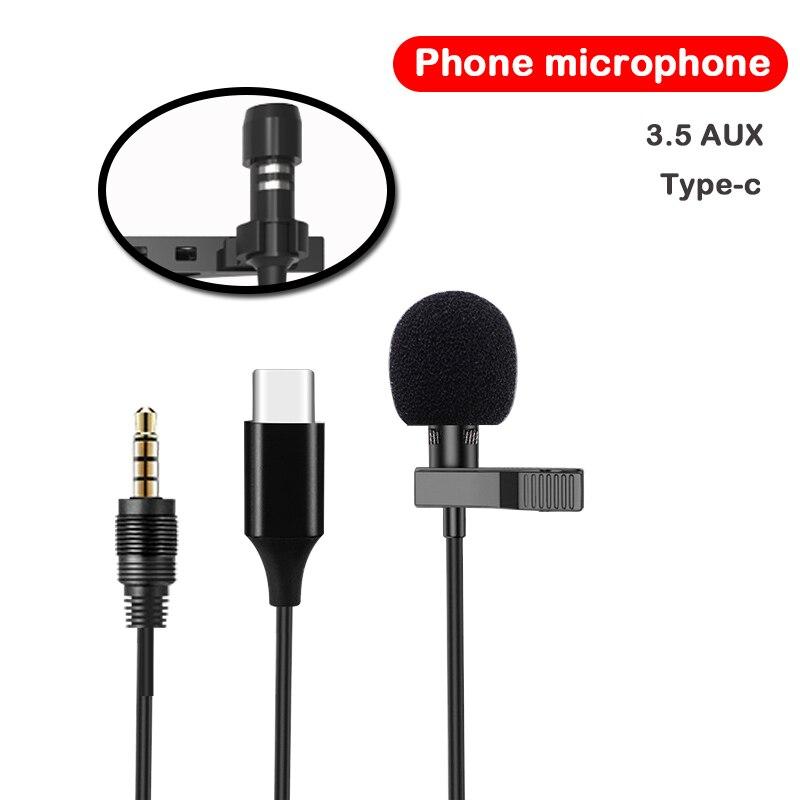 Smartphones microfone de Lapela Clipe de Gravata Microfone Mini Microfone De Áudio 1.5m-Tipo c 3.5 AUX Microfone Com Fio para Computador portátil do Telefone Móvel