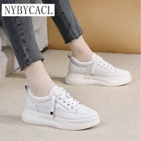 womens sneakers genuine leather casual lace up women white shoes 2021 spring autumn woman wedges shoes female net sneakers new