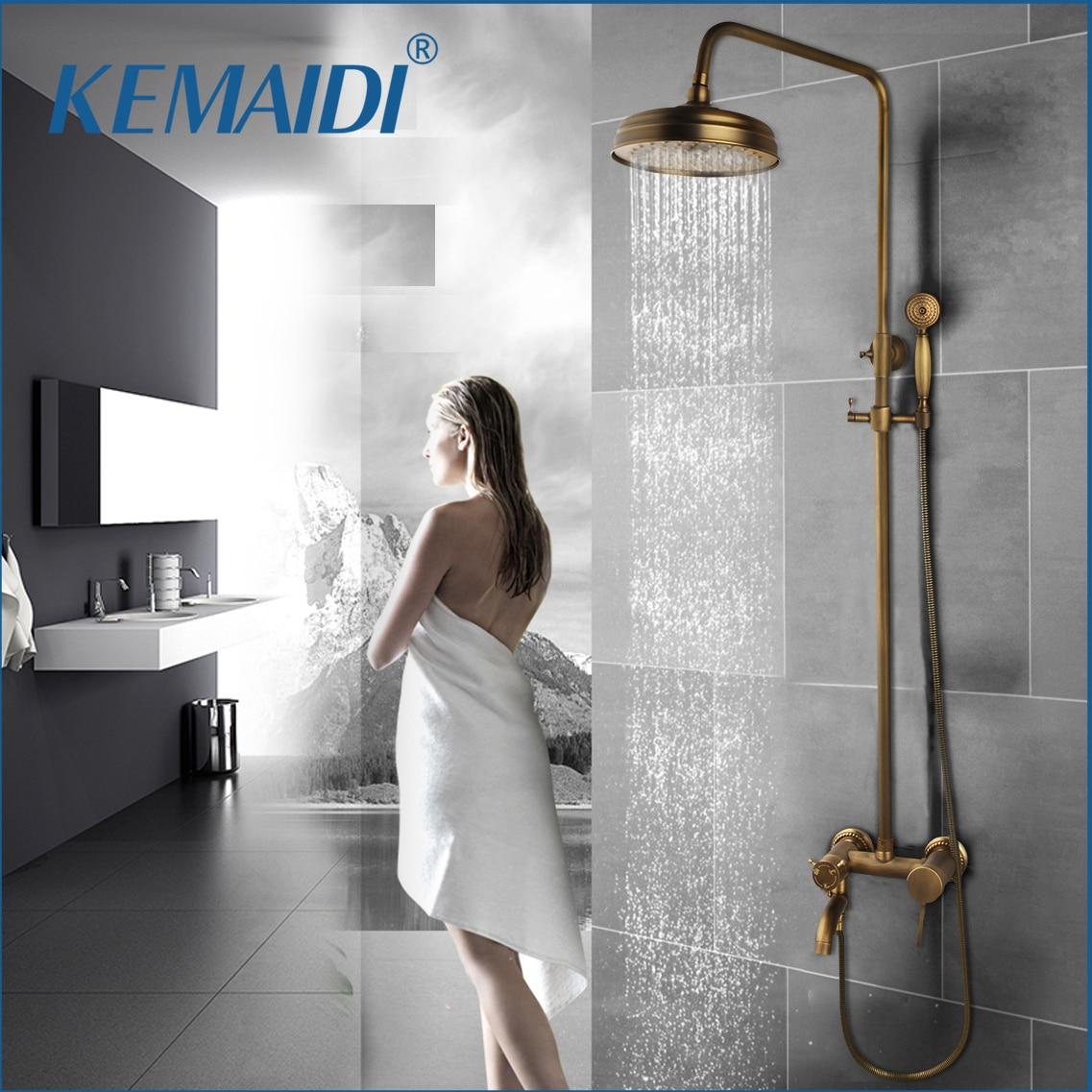 KEMAIDI-مجموعة دش الحمام النحاسية العتيقة ، ودش يدوي ومستدير ، وحنفيات خلاط بمقابض مزدوجة