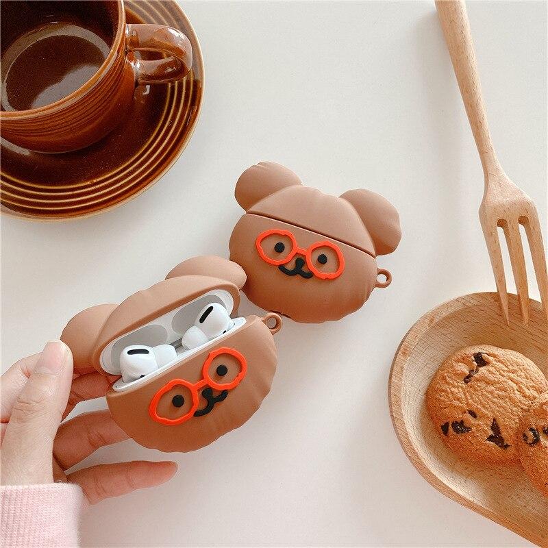 Милый чехол с очковым медведем для Airpods Pro, силиконовый чехол для наушников, чехол для наушников Airpods 1/2, чехол с зарядным боксом чехол